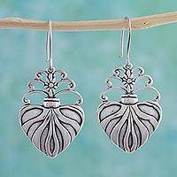 Sterling silver dangle earrings, 'Sacred Heart' - Sterling silver dangle earrings