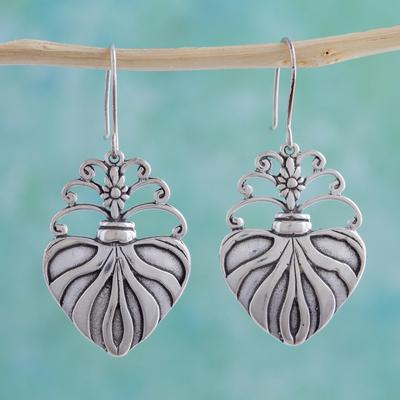 Sterling silver dangle earrings, 'Sacred Heart' - Sterling silver dangle earrings