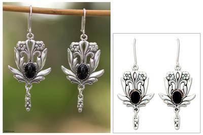 Onyx flower earrings, 'Rose Bud' - Onyx flower earrings