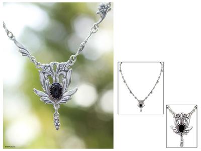 Onyx pendant necklace, 'Rosebud' - Sterling Silver Onyx Necklace