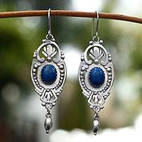Sodalite dangle earrings, '19th Century'