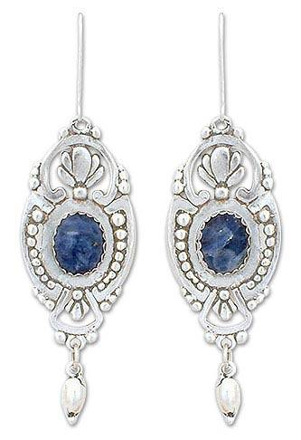 Sodalite Dangle Earrings 19th Century Handcrafted Mexican Sterling Silver And