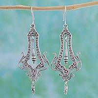 Sterling silver dangle earrings, 'Long Lace'