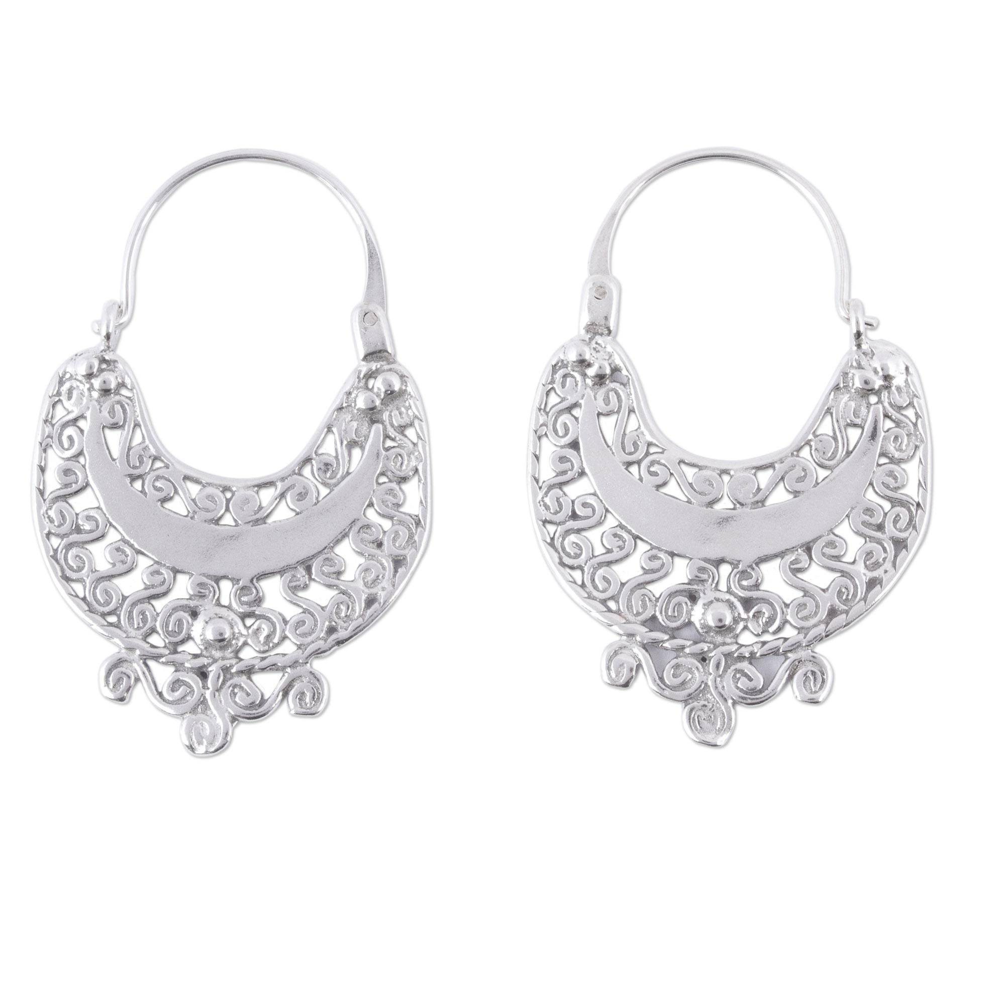 Sterling Silver Filigree Earrings from Mexico, 'Curlicue'