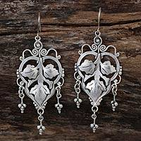 Sterling silver chandelier earrings, 'Three Leaves' - Handcrafted Dangle Silver Earrings Made in Mexico.