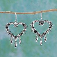 Sterling silver heart earrings, 'Heart of Frida'