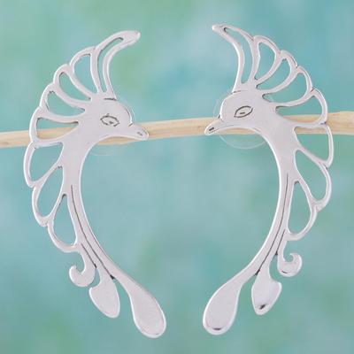 Sterling silver drop earrings, 'Hummingbird' - Collectible Modern Sterling Silver Bird Earrings