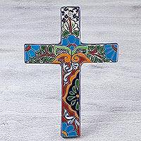 Ceramic cross, 'Dolores Hidalgo' cross (small) - Handcrafted Floral Mayolica Ceramic Cross for the Wall