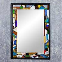 Mosaic glass mirror, 'Hope for Peace' - Handmade Mosaic Stained Glass Mirror