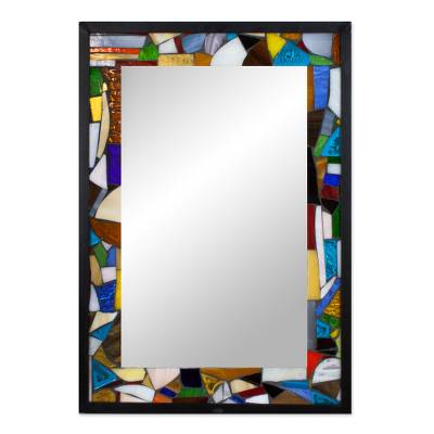 Artisan Crafted Stained Glass Mosaic Mirror - Hope for Peace | NOVICA