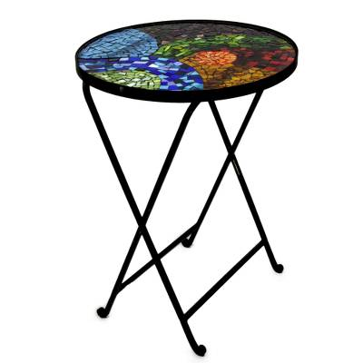 Stained glass table, 'Glass Spectacle' - Handmade Mosaic Stained Glass Folding Table