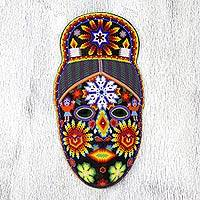 Beadwork mask, 'Spirit of the Blue Deer' - Fair Trade Huichol Hand Beaded Papier Mache Mask