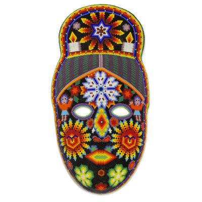 Beadwork mask, 'Spirit of the Blue Deer' - Fair Trade Huichol Hand Beaded Papier Mache Mask