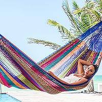 Hammock, 'Rainbow Seascape' (double) - Hand Made Patterned Blue and Bright Mayan Hammock (Double)