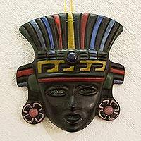 Ceramic mask, 'Aztec Priestess' - Hand Made Cultural Ceramic Mask from Mexico