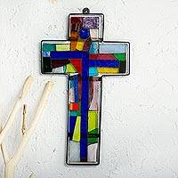 Stained glass cross, 'Holy Cross' (large) - Handmade Abstract Stained Glass Cross
