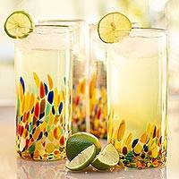 Highball glasses, 'Confetti' (set of 6) - Colorful Handblown Glass Highball Cocktail (Set of 6)