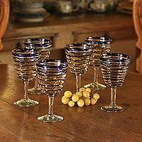 Wine glasses, 'Cobalt Spirals' (set of 6) - Handblown Recycled Glass Six Striped Blue Wine Glasses