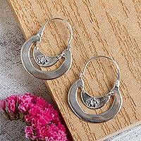 Sterling silver hoop earrings, 'Floral Crescent' - Women's Floral Sterling Silver Hoop Earrings