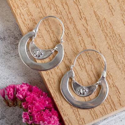 Sterling silver hoop earrings, 'Floral Crescent' - Women's Floral Sterling Silver Hoop Earrings