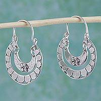 Sterling silver hoop earrings, 'Floral Hoops' - Double Loop Silver Earrings with Flower