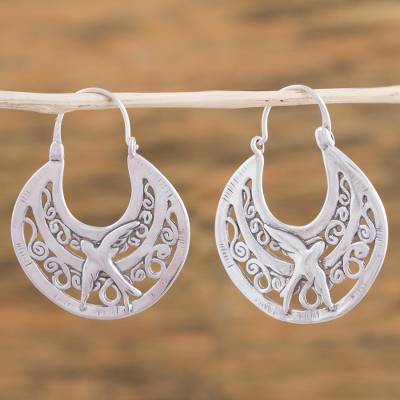 Sterling Silver Hoop Earrings Peaceful Doves Unique Animal Themed Vintage Style