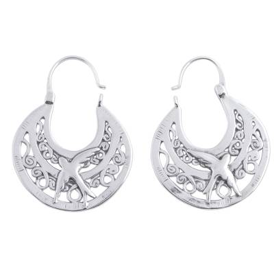 Sterling silver hoop earrings, 'Peaceful Doves' - Unique Animal Themed Vintage Style Silver Bird Hoop Earrings