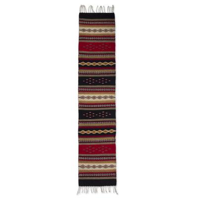 Zapotec wool runner, 'Diamond Path' (1.5x6) - Hand Made Zapotec Wool Area Rug (1.5x6)