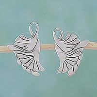 Sterling silver drop earrings, 'On Doves' Wings' - Sterling Silver Button Bird Earrings