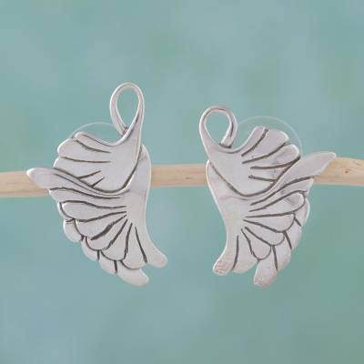 Sterling silver button earrings, 'On Doves' Wings' - Sterling Silver Button Bird Earrings
