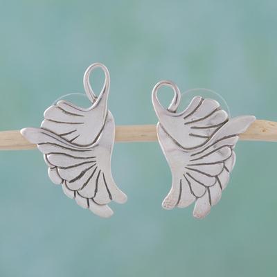 Sterling silver drop earrings, 'On Doves' Wings' - Sterling Silver Button Bird Earrings