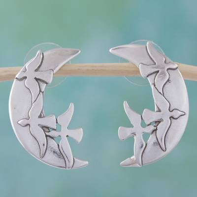 Sterling silver drop earrings, Doves in the Heavens