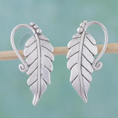 Sterling silver drop earrings, 'Silver Vineyard' - Sterling Silver Leaf Drop Earrings