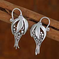 Sterling silver flower earrings, 'Tropical Flower'