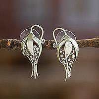 Sterling silver flower earrings, 'Tropical Flower' - Floral Sterling Silver Drop Earrings