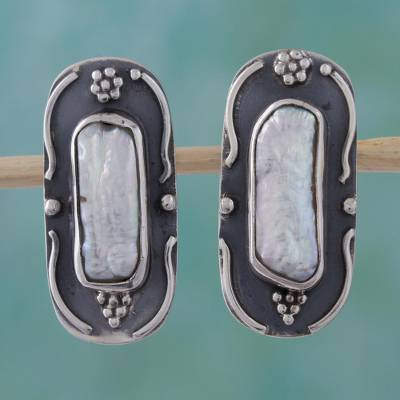 Pearl dangle earrings, 'Elongated Pearl' - Pearl dangle earrings