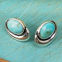Sterling silver button earrings, 'Blue Moon' - Sterling silver button earrings