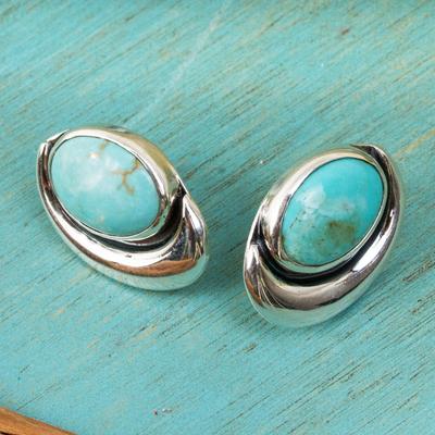 Sterling silver button earrings, 'Blue Moon' - Sterling silver button earrings
