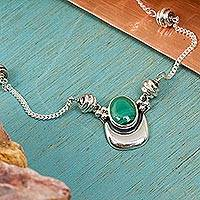 Malachite necklace, 'Healing Crescent'