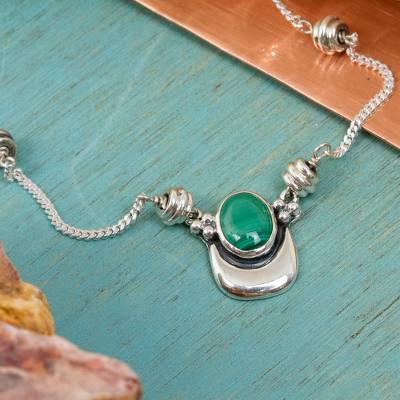 Malachite necklace, 'Healing Crescent' - Sterling Silver and Malachite Necklace