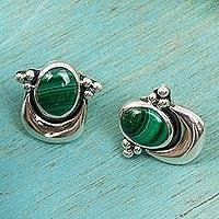 Malachite button earrings, 'Healing Crescent'