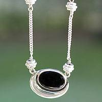Obsidian pendant necklace, 'Midnight Mirror' - Obsidian pendant necklace