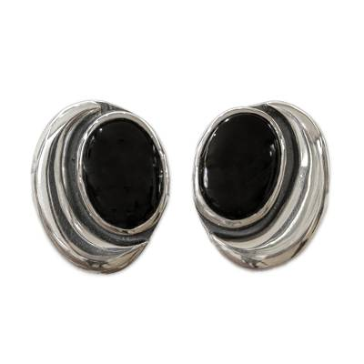 Obsidian button earrings