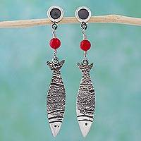 Sterling silver dangle earrings, 'Silver Fish'