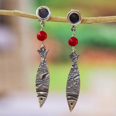 Sterling silver dangle earrings, 'Silver Fish' - Sterling silver dangle earrings