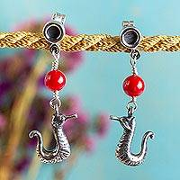 Sterling silver dangle earrings, 'Silver Sea Horses' - Sterling Silver Sea Horse Earrings with Glass Beads