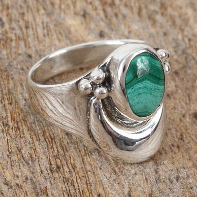 ebay silver necklaces women basketball - Sterling Silver Cocktail Malachite Ring