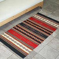 Zapotec wool runner, 'Highland Dawn' (2.5x5) - Handcrafted Mexican Wool Area Rug