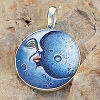 Sterling silver pendant, 'Blue Moon' - Sterling Silver and Papier Mache Moon Pendant