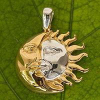 Gold plated pendant, 'Golden Eclipse' - Women's Sun and Moon Gold Accent Pendant